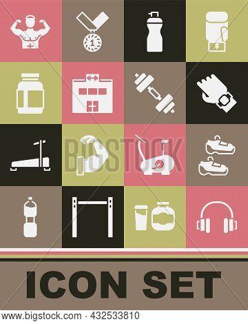 Set Headphones, Sport Sneakers, Smart Watch Hand, Fitness Shaker, Gym Building, Sports Nutrition, Bo