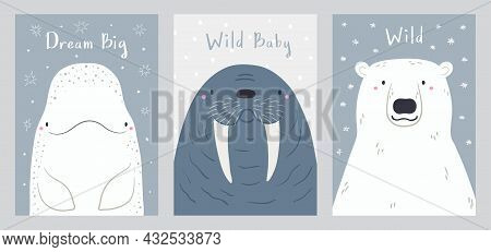 Cute Cartoon Animals Portraits Set, Beluga Whale, Walrus, Polar Bear. Hand Drawn Vector Illustration