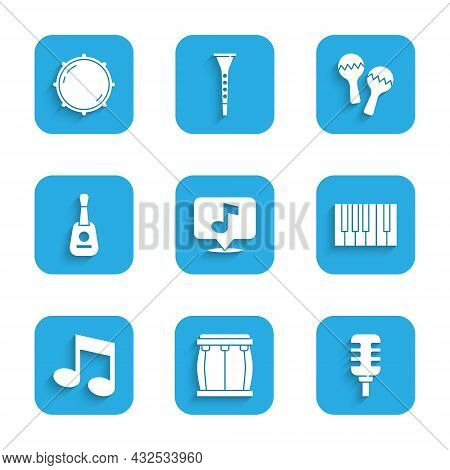 Set Musical Note, Drum, Microphone, Grand Piano, Tone, Guitar, Maracas And Dial Knob Level Icon. Vec