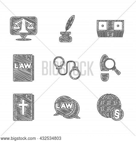Set Handcuffs, Law, International Law, Footsteps, Holy Bible Book, Bribe Money Cash And Scales Of Ju