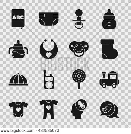 Set Baby, Toy Train, Socks Clothes, Dummy Pacifier, Bib, Bottle, Abc Book And Icon. Vector