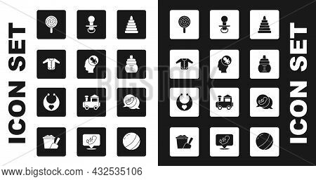 Set Pyramid Toy, Baby Dummy Pacifier, Clothes, Lollipop, Bottle, And Bib Icon. Vector