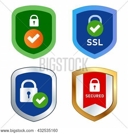 Shield Icon Emblem Ssl Security Secured Web Transaction Encrypted Symbol Stamp Cyber Pad Lock Check