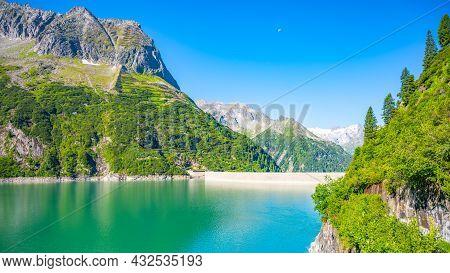 Beautiful Alpine Walley With Azure Blue Water Of Speicher Zillergrundl Dam, Zillertal Alps, Austria