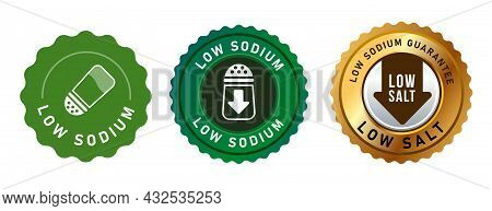 Low Sodium Reduced Salt Label Stamp Design Isolated For Packaging In Green And Gold Round Seal Stamp
