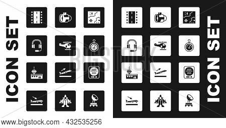Set World Travel Map, Helicopter, Headphones With Microphone, Airport Runway, Barometer, Jet Engine
