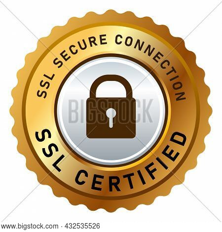 Ssl Secure Connection Certified Stamp Label Sticker Isolated Design In Golden And Silver Padlock Log