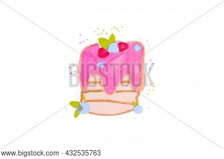 Child's Drawing Of A Birthday Cake, Pastry With Cream On A White Background Isolad.child's Drawing .