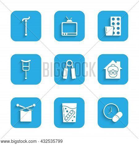 Set Sport Expander, False Jaw In Glass, Medicine Pill Tablet, Nursing Home, Knitting, Crutch Crutche