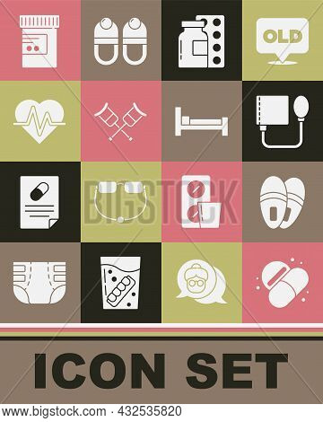Set Medicine Pill Or Tablet, Slippers, Blood Pressure, Pills Blister Pack, Crutch Crutches, Heart Ra