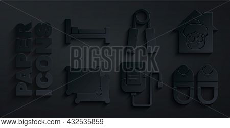 Set Iv Bag, Nursing Home, Pillow, Slippers, Sport Expander And Bed Icon. Vector