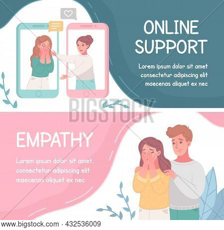 Set Of Two Empathy Cartoon Characters Horizontal Banners With Couples Giving Online Support And Edit