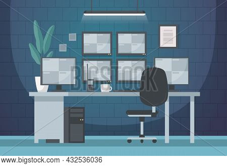 Security Guard Agency Service Cartoon Composition With View Of Indoor Workplace Of Cctv Operator Wit