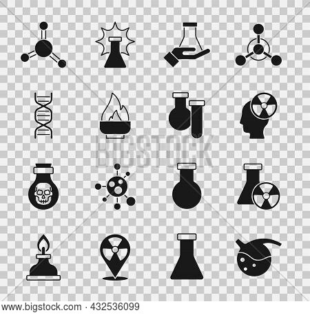 Set Test Tube And Flask, Radiation, Head Symbol, Alcohol Or Spirit Burner, Dna, Molecule And Icon. V