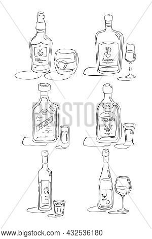 Bottle And Glass Rum, Tequila, Vodka, Wine, Whiskey, Liquor Together In Hand Drawn Style. Restaurant