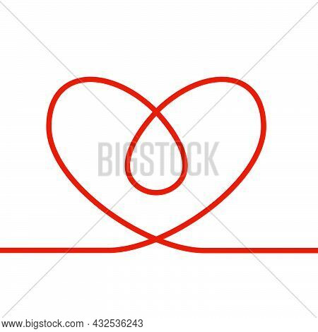 Linear Red Shape Heart Continuous Stroke With Blood Drop On White Background. Modern Illustration Fo