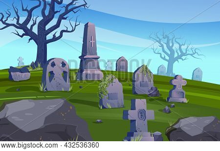 Old Cemetery Colored Composition Creepy Cemetery During The Day With No Visitors Vector Illustration