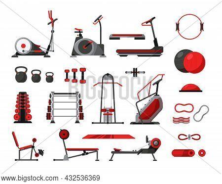 Gym Fitness Equipment Icon Set Exercise Bike Elliptical Treadmill Sports Ball Resistance Band Dumbbe