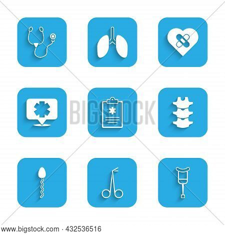 Set Clinical Record, Medical Scissors, Crutch Crutches, Human Spine, Sperm, Symbol Of The Emergency,