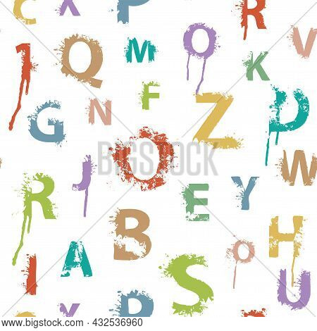 Seamless Pattern With Alphabet Letters In Form Of Colored Paint Blots And Splashes On A Light Backdr