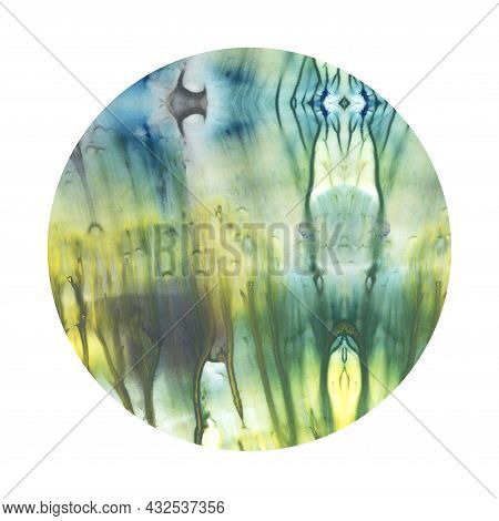 Fine Blue And Yellow Color Watercolor Round Circle Texture Isolated On White Background With Smooth