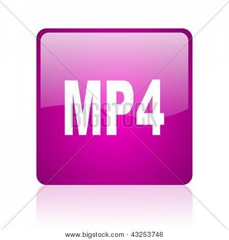 mp4 violet square web glossy icon