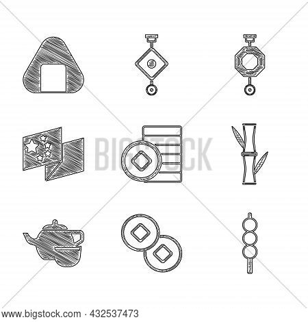 Set Chinese Yuan Currency, Meatballs On Wooden Stick, Bamboo, Tea Ceremony, China Flag, Paper Lanter