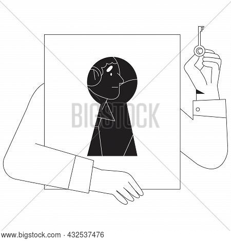 Ui, Website Or Mobile Application Illustration In Black And White Line Style. Character In Keyhole H