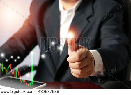 Businessman Analysing Forex Trading Graph Financial Data. Business Finance Background, Business Fina