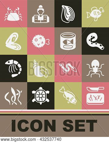 Set Cutting Board And Knife, Octopus, Of Tentacle, Mussel, Fish Hedgehog, Crab And Canned Fish Icon.
