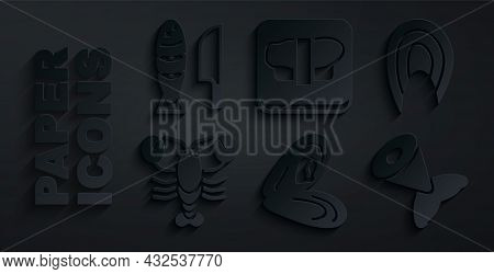 Set Mussel, Fish Steak, Lobster, Tail, Sushi On Cutting Board And With Sliced Pieces Icon. Vector