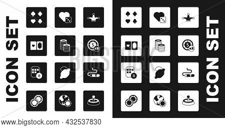 Set Joker Playing Card, Casino Chips, Deck Of Cards, Game Dice, Cigar And Lottery Ball On Bingo Icon