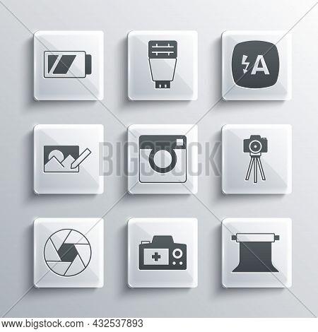 Set Photo Camera, Empty Photo Studio, Camera Shutter, Retouching, Battery For And Auto Flash Icon. V