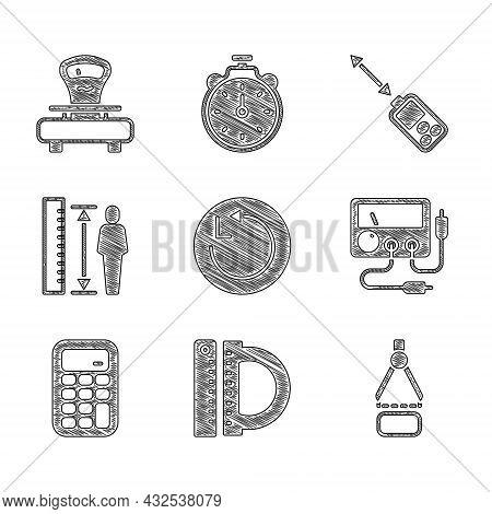Set Radius, Protractor And Ruler, Drawing Compass, Multimeter, Voltmeter, Calculator, Measuring Heig