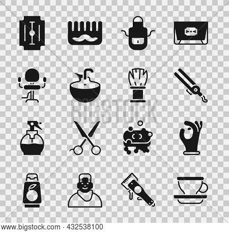 Set Coffee Cup, Medical Rubber Gloves, Curling Iron, Barber Apron, Washbasin, Barbershop Chair, Blad