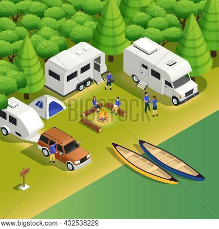 Kayaking Canoeing Trips Campsite Isometric Composition With Allroad Vehicle Tent Camper Tourists Cam