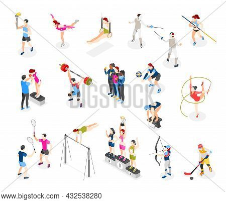 Set Of Isolated International Sport Day Isometric Icons With Gymnastic Apparatus And Characters Of P