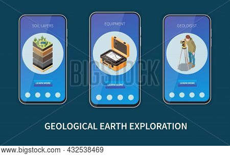 Geology Earth Exploration Isometric Colored Vertical Banner Set With Soil Layers Equipments Geologis