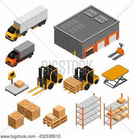 Set Of Isolated Items Related To The Warehouse Shelves With Boxes Forklift Trucks Scales Vector Isom