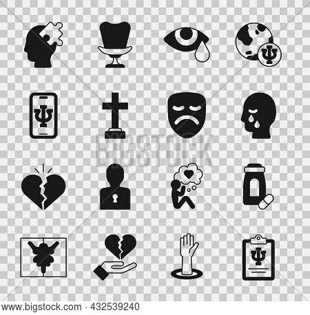 Set Psychology, Psi, Sedative Pills, Man Graves Funeral Sorrow, Tear Cry Eye, Graves, Psychologist O