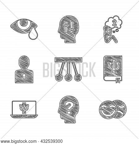 Set Pendulum, Head With Question Mark, Comedy And Tragedy Masks, Psychology Book, Psi, Psychologist