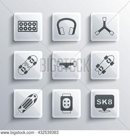 Set Knee Pads, Skateboard, Longboard Or Skateboard, Wheel, Deck, Broken, And Y-tool Icon. Vector