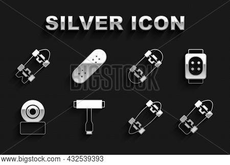Set Skateboard T Tool, Knee Pads, Longboard Or Skateboard, Wheel, And Icon. Vector