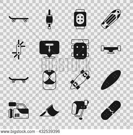 Set Broken Skateboard Deck, Longboard Or, Skateboard Wheel, Knee Pads, T Tool, Tool Allen Keys, And