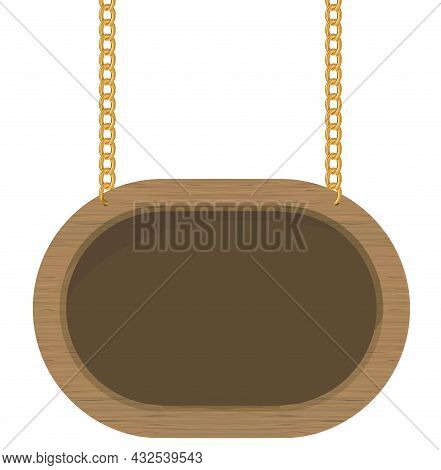 Signboard Hanging On Gold Chains. Wooden Frame Sign. Vector