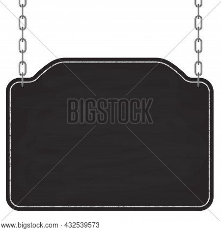 Signboard Hanging On Metal Chains. Wooden Frame Sign. Vector
