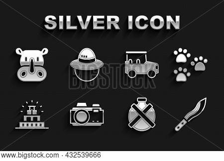 Set Photo Camera, Paw Print, Machete, Canteen Water Bottle, Chichen Itza Mayan, Safari Car, Rhinocer