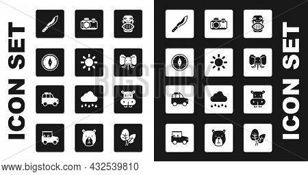 Set Mexican Mayan Or Aztec Mask, Sun, Compass, Machete, Elephant, Photo Camera, Hippo Hippopotamus A