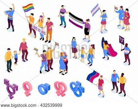 Lgbt Homosexual Love Symbols Gay Lesbian Couples Parents Rights Awareness Day Rainbow Flags Isometri