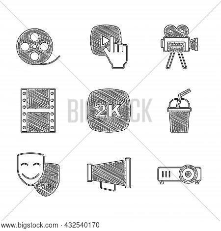 Set 2k Ultra Hd, Megaphone, Movie, Film, Media Projector, Paper Glass With Water, Comedy And Tragedy